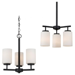 Oslo Blacksmith Three-Light Chandelier with Satin Etched Glass