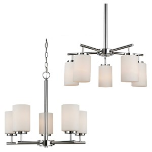 Oslo Chrome Five-Light Chandelier with Etched Opal White Glass