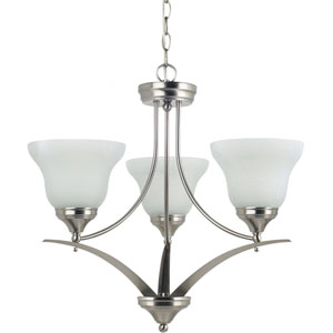 Brockton Brushed Nickel  Three-Light Chandelier