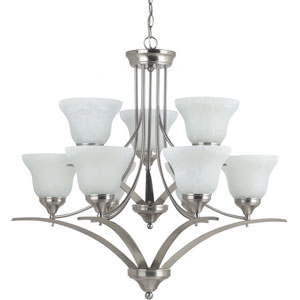 Brockton Brushed Nickel  9-Light Chandelier