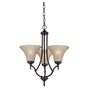 Montreal Burnt Sienna Three-Light Chandelier with Satin Cafe Tint Glass