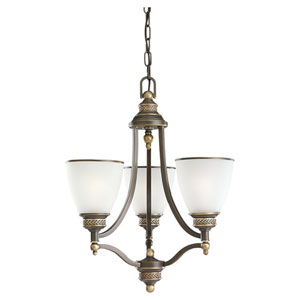 Laurel Leaf Estate Bronze Three-Light Chandelier