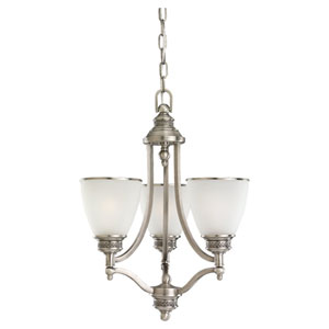 Laurel Leaf Three-Light Antique Brushed Nickel Chandelier