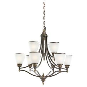 Laurel Leaf Estate Bronze Nine-Light Chandelier