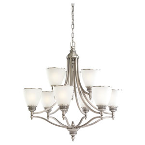 Laurel Leaf Antique Brushed Nickel Nine-Light Chandelier
