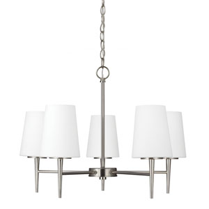 Driscoll Brushed Nickel Five Light Single Tier Chandelier