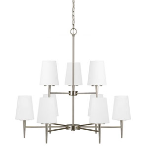 Driscoll Brushed Nickel Nine Light Multi-Tier Chandelier with Etched Glass Painted White Inside