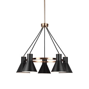 Towner Satin Brass 29-Inch Five-Light Chandelier