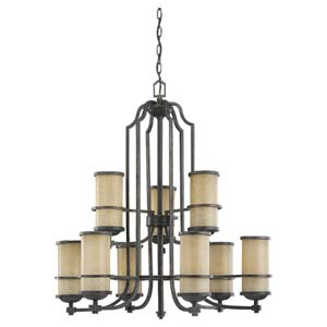 Roslyn Flemish Bronze Nine-Light Multi-Tier Chandelier