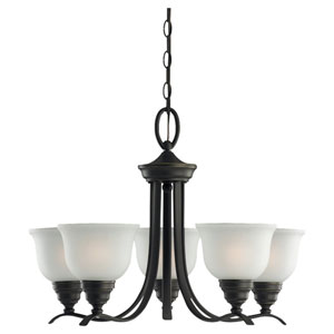 Wheaton Five-Light Heirloom Bronze Chandelier with Satin Etched Glass