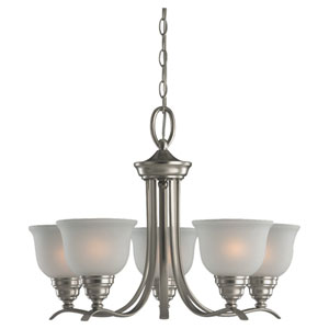 Wheaton Five-Light Brushed Nickel Chandelier with Satin EtchedGlass