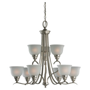 Wheaton Nine-Light Brushed Nickel Chandelier with Satin EtchedGlass