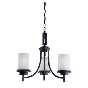 Winnetka Three-Light Blacksmith Chandelier with Satin EtchedGlass