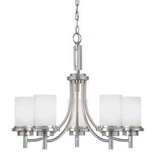 Winnetka Brushed Nickel Five Light Single Tier Chandelier with Satin Etched Glass