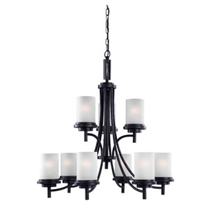 Winnetka Nine-Light Blacksmith Chandelier with Satin Etched Glass