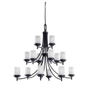 Winnetka Fifteen-Light Blacksmith Chandelier with Satin Etched Glass