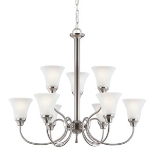 Holman Brushed Nickel Nine-Light  Chandelier with Satin Etched Glass