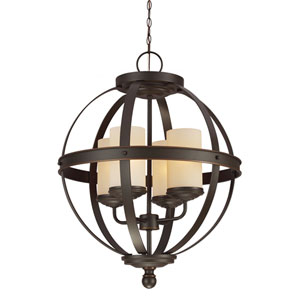 Sfera Autumn Bronze Four Light Single Tier Chandelier with Cafe Tint Glass