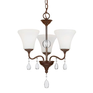West Town Burnt Sienna Three-Light  Chandelier with Etched Glass Painted White Inside
