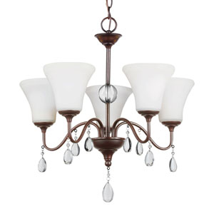West Town Burnt Sienna Five-Light Chandelier with Etched Glass Painted White Inside