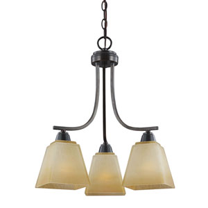 Parkfield Flemish Bronze Three-Light  Down Chandelier with Creme Parchment Glass