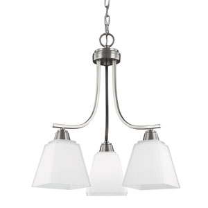 Parkfield Brushed Nickel Three-Light Down Chandelier with Etched Glass