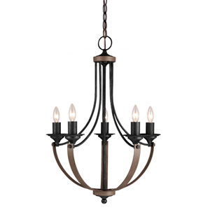 Corbeille Stardust and Cerused Oak 29-Inch Five Light Single Tier Chandelier