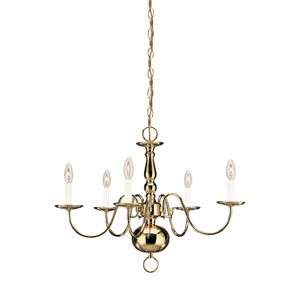 Traditional Polished Brass 23.5-Inch Energy Star Five-Light Chandelier