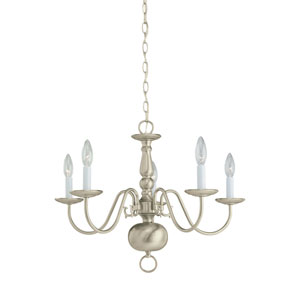 Traditional Brushed Nickel 23.5-Inch Energy Star Five-Light Chandelier