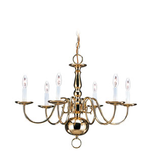 Traditional Polished Brass Six-Light Chandelier
