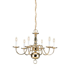 Traditional Polished Brass 23.5-Inch Energy Star Six-Light Chandelier