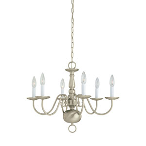 Traditional Brushed Nickel 23.5-Inch Energy Star Six-Light Chandelier