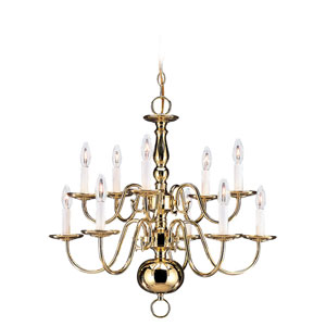 Traditional Polished Brass Two-Tier Chandelier