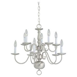 Colonial Brushed Nickel Ten-Light Chandelier
