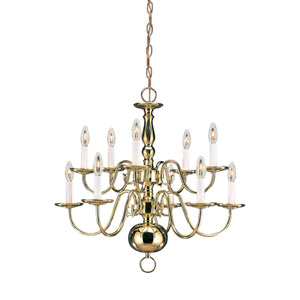 Traditional Polished Brass 23.5-Inch Energy Star Ten-Light Chandelier