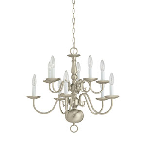 Traditional Brushed Nickel 23.5-Inch Energy Star Ten-Light Chandelier