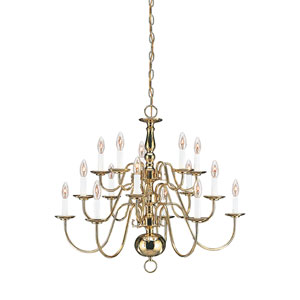 Traditional Polished Brass 30.5-Inch Energy Star Fifteen-Light Chandelier