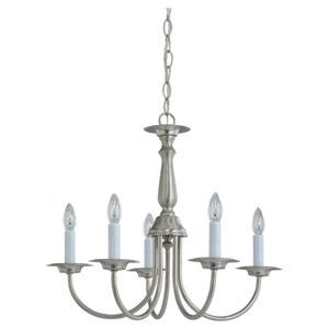 Colonial Brushed Nickel Five-Light Chandelier