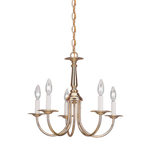 Traditional Polished Brass 18.5-Inch Energy Star Five-Light Chandelier