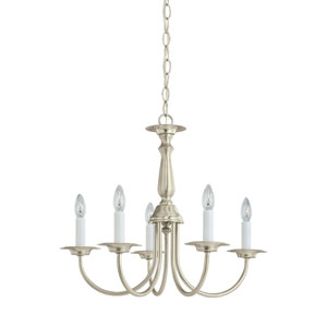 Traditional Brushed Nickel 18.5-Inch Energy Star Five-Light Chandelier