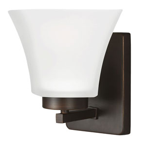 Bayfield Bronze One-Light Wall Sconce with Satin Etched Glass