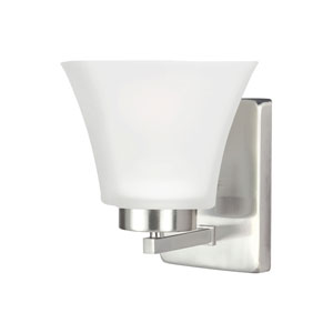 Bayfield Brushed Nickel One-Light Wall Sconce with Satin Etched Glass
