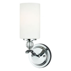 Englehorn Chrome and Optic Crystal One Light Wall Bath with with Etched Glass Painted White Inside