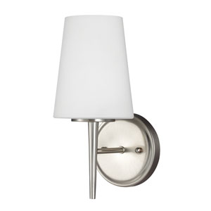 Driscoll Brushed Nickel One Light Bathroom Wall Sconce with Etched Glass Painted White Inside