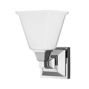 Denhelm Chrome One Light Bathroom Wall Sconce with Etched Glass