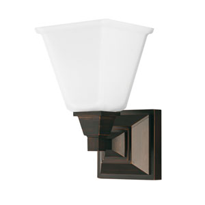 Denhelm Burnt Sienna One Light Bathroom Wall Sconce with Etched Glass