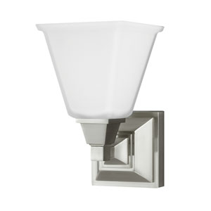 Denhelm Brushed Nickel One Light Bathroom Wall Sconce with Etched Glass
