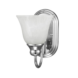 Windgate Chrome One Light Bathroom Wall Sconce with White Alabaster Glass