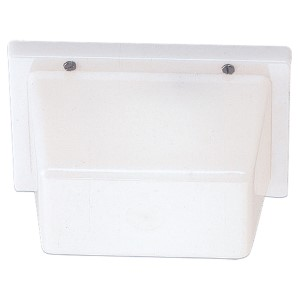White Plastic One-LightOutdoor Flush Mount