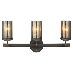 Sfera Autumn Bronze Three Light Bathroom Vanity Fixture with Mercury Glass